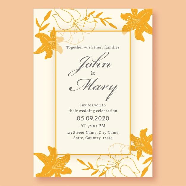 Свадебные приглашения, украшенные желтыми цветами лилии и деталями события. Premium векторы