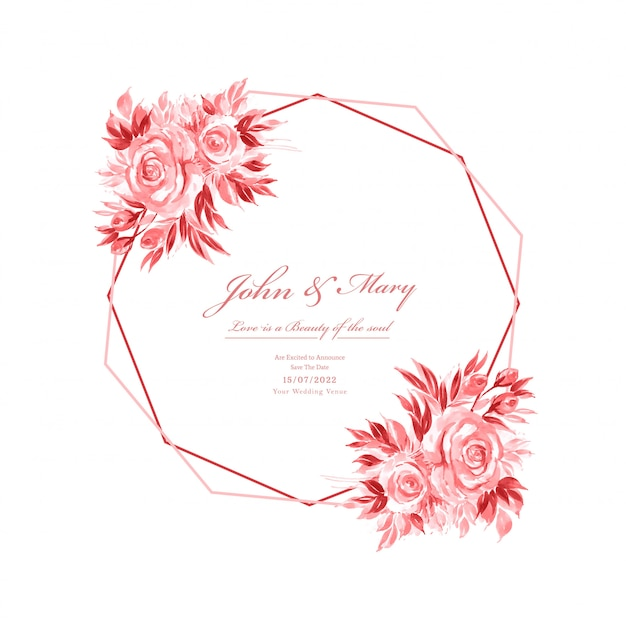 Wedding invitation card decorative floral frame template Free Vector