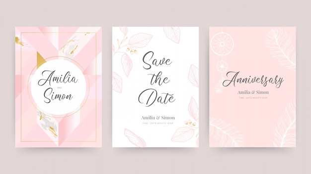 Wedding invitation and card design template with beautiful feathers. Premium Vector