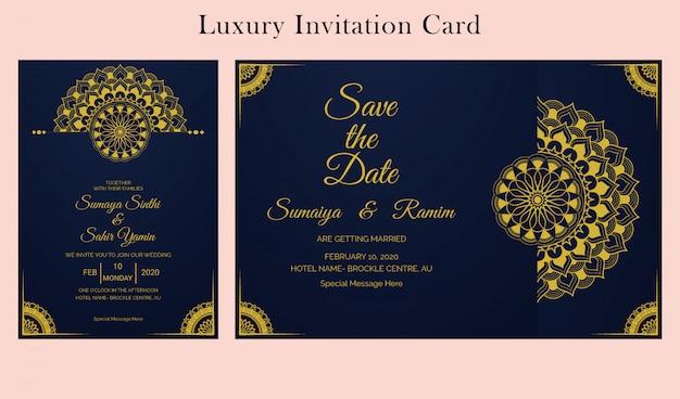 premium vector  wedding invitation card design template