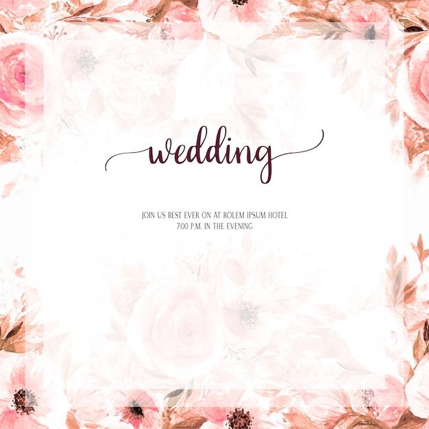 Wedding Invitation Card Design Watercolour Flower S