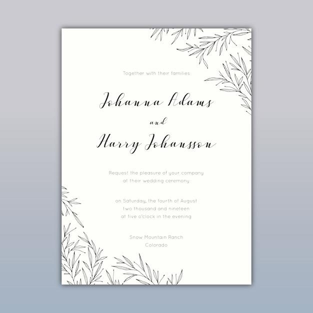 Wedding Invitation Card Design With Elegant Drawings Vector Free