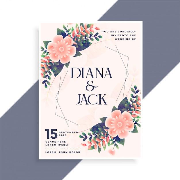 wedding invitation card design with floral decoration