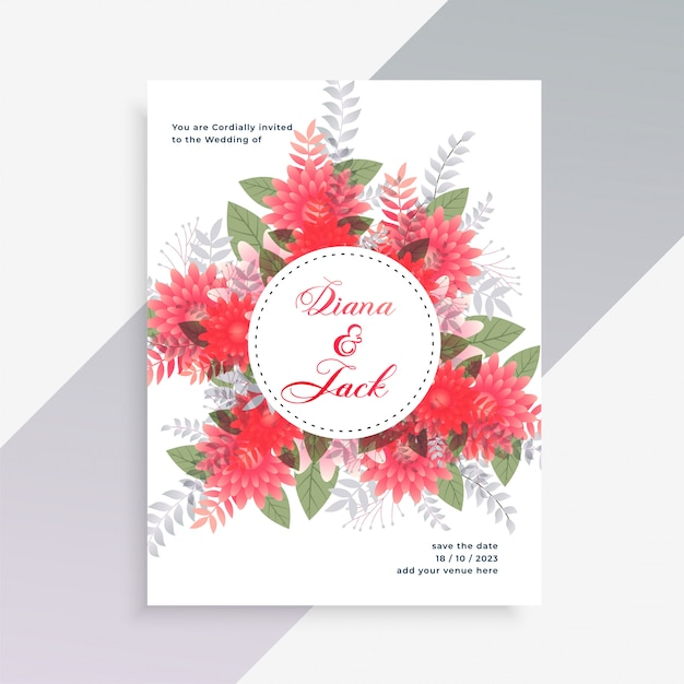 Wedding invitation card design with flower decoration Free Vector