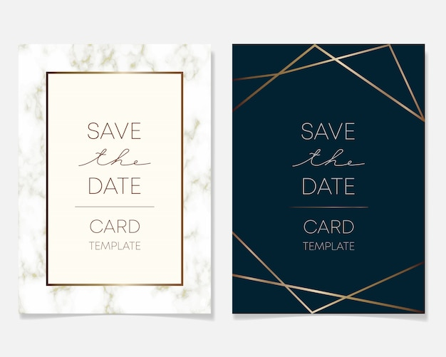 Wedding invitation card design with golden frames and marble texture Premium Vector