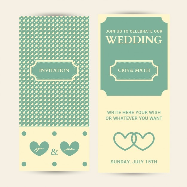 Wedding Invitation Card Editable With Hearts Background Free Vector