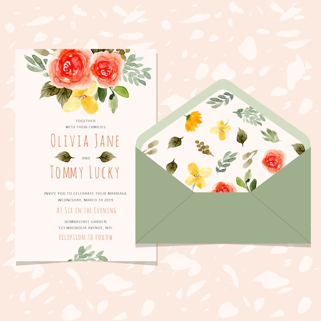 Wedding invitation card and envelope with pretty flower watercolor Premium Vector