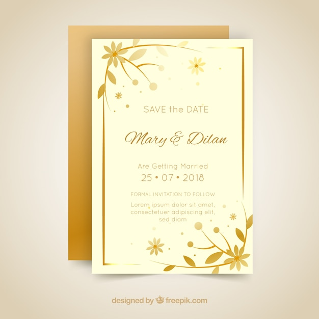 Wedding Invitation Card In Flat Style Vector Free Download
