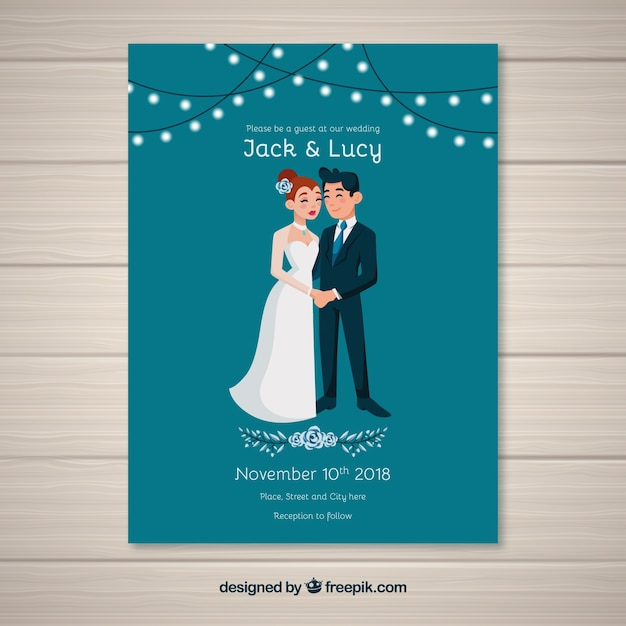 Wedding invitation card in flat style Free Vector
