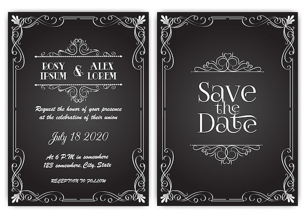 Wedding invitation card floral hand drawn frame . Premium Vector