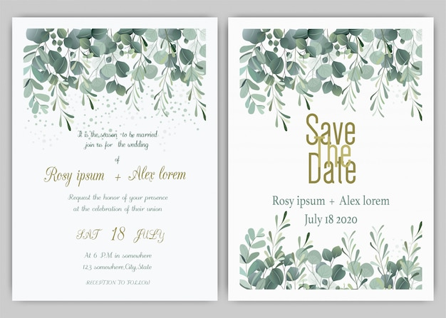 Wedding invitation card floral hand drawn frame Premium Vector
