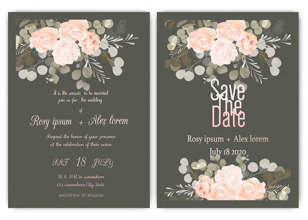 Wedding invitation card floral hand drawn frame Premium Vector