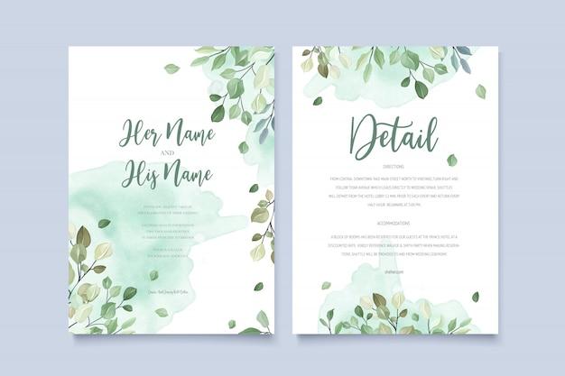 Wedding invitation card in green leaves Premium Vector