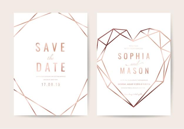 幾何学スタイルの結婚式招待状 Premiumベクター
