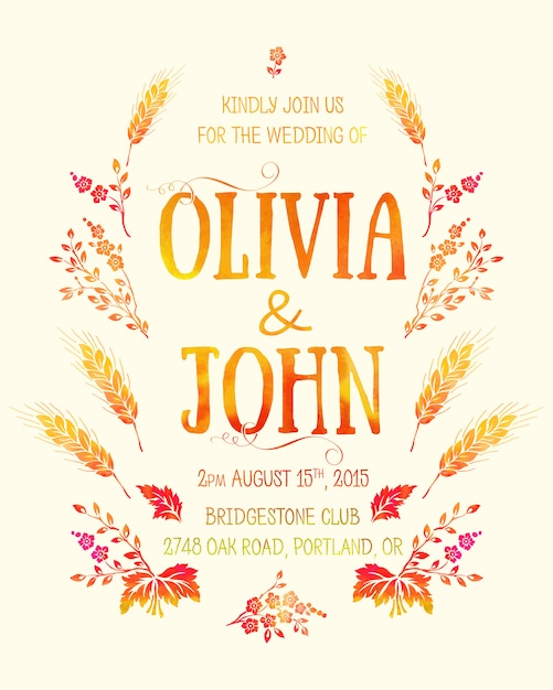 Wedding invitation card. invitation card with watercolor floral elements Free Vector