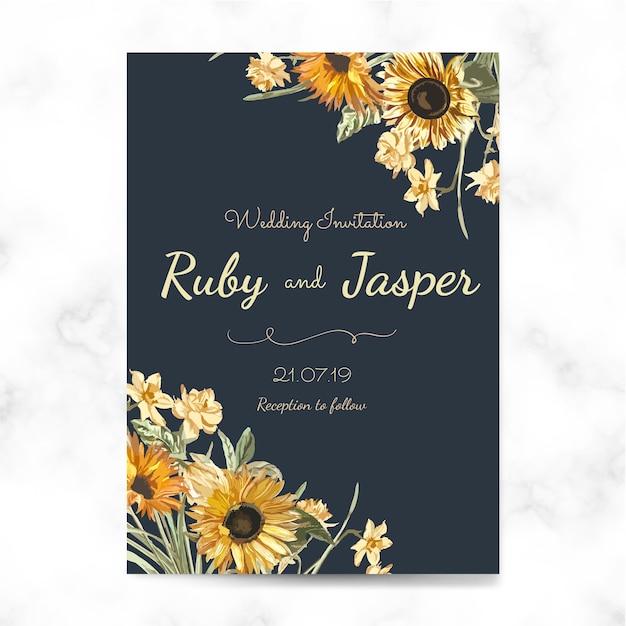 Wedding invitation card mockup vector Free Vector