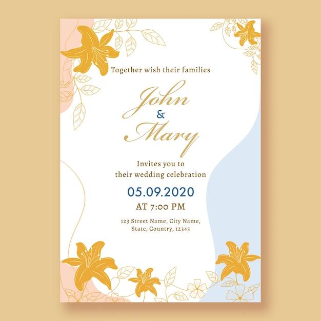 Пригласительный билет на свадьбу или флаер с указанием места проведения. Premium векторы