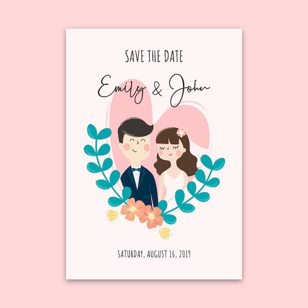 Wedding invitation card. save the date card design template. Premium Vector