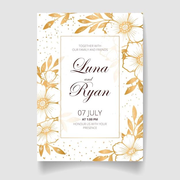 결혼식 초대 카드, 황금 꽃, 잎 및 가지로 날짜를 저장합니다. 프리미엄 벡터