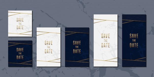 Wedding invitation card set of elegant blue golden Premium Vector