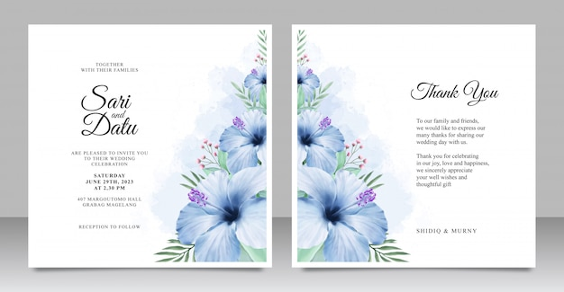 Wedding invitation card set template with beautiful floral aquarel Premium Vector