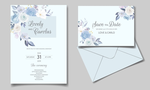 Wedding invitation card set template with beautiful floral frame Premium Vector