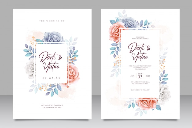 Wedding invitation card set template with beautiful floral and leaves Premium Vector
