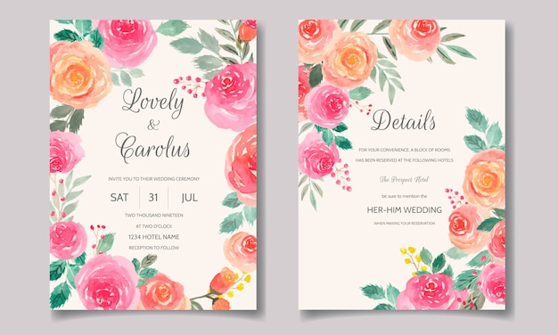 Wedding invitation card set template with floral and leaves watercolor Premium Vector