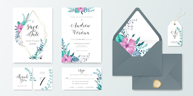 Wedding invitation card set template with floral watercolor decoration. Premium Vector