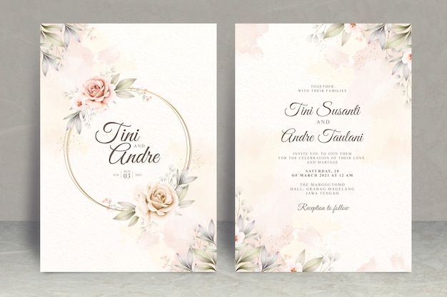 Wedding invitation card set template with flowers and leaves watercolor Premium Vector