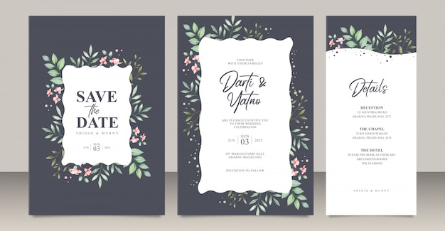 Wedding invitation card set template with leaves watercolor Premium Vector