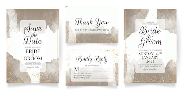 결혼식 초대 카드 설정 수채화 배경 템플릿 프리미엄 벡터