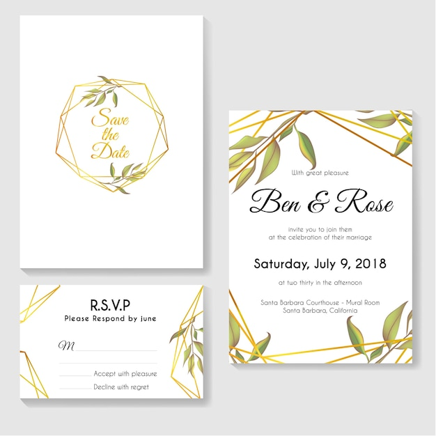 Wedding invitation card set with modern leaves and gold line vector wedding invitation card set with modern leaves and gold line premium vector stopboris Image collections