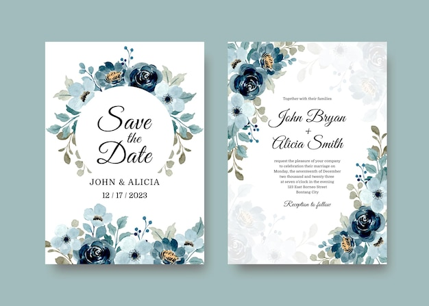 Wedding invitation card set with soft blue floral watercolor