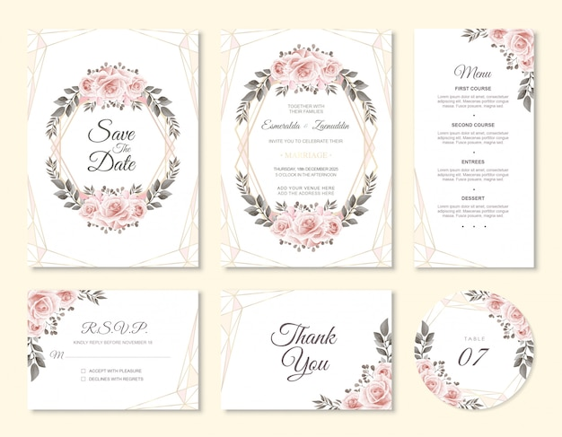 Wedding invitation card set with watercolor flower decoration Premium Vector