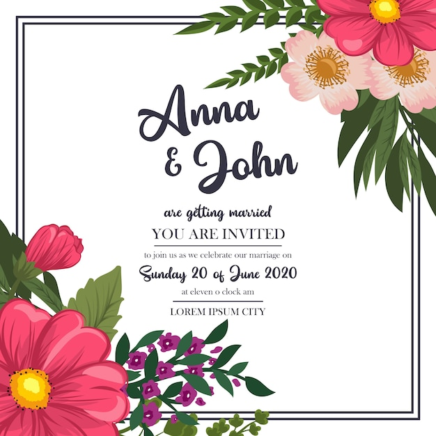 Wedding invitation card suite with flower template Vector | Premium ...