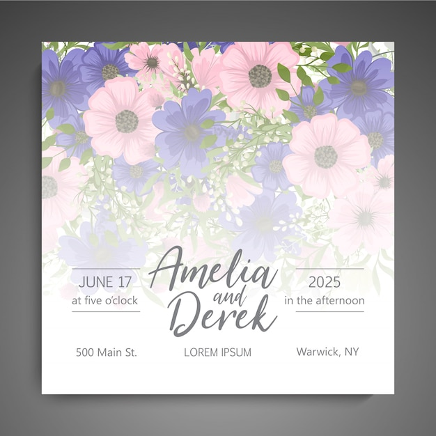 Wedding invitation card suite with flower template Free Vector