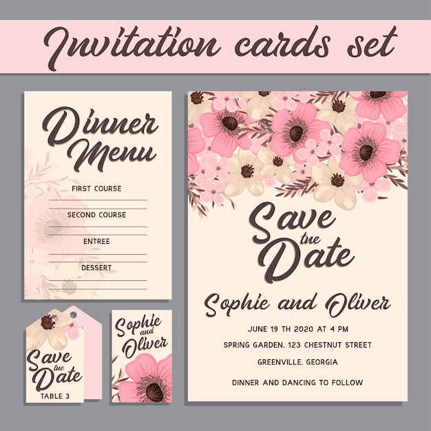 Wedding invitation card suite with flower templates. Free Vector