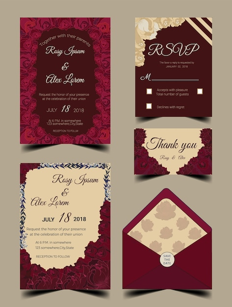 Wedding invitation card suite with flower Templates. Vector ...