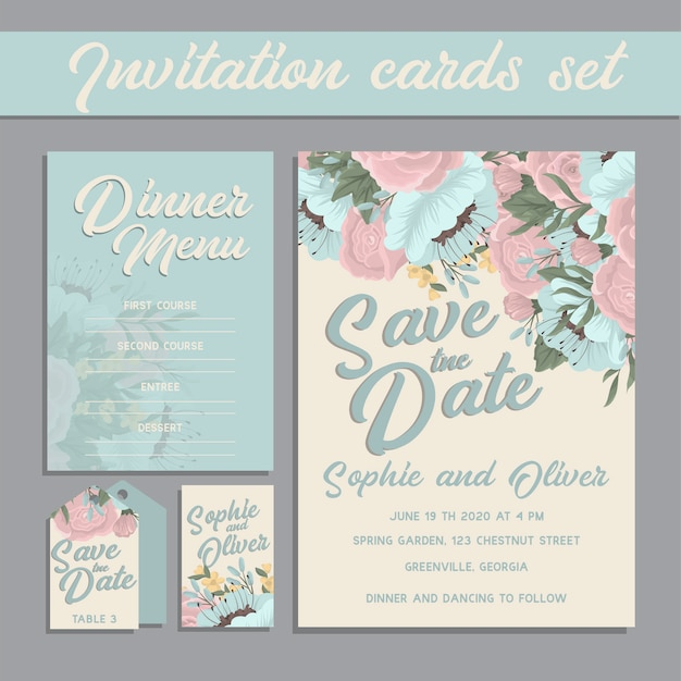 Wedding invitation card suite with flower Free Vector