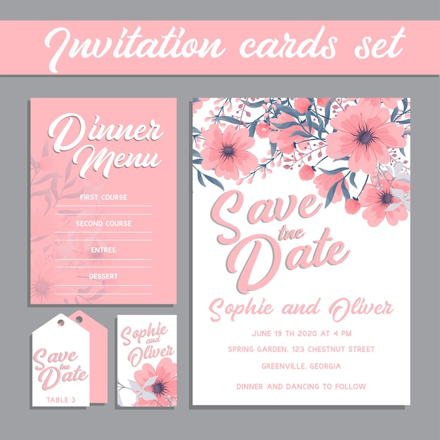 Wedding Invitation Card Suite With Flowers Template Vector