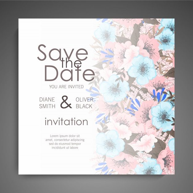 Wedding invitation card suite with flowers. template. vector illustration Free Vector