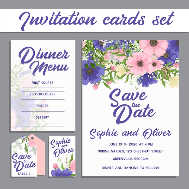 Wedding invitation card suite with flowers. Free Vector