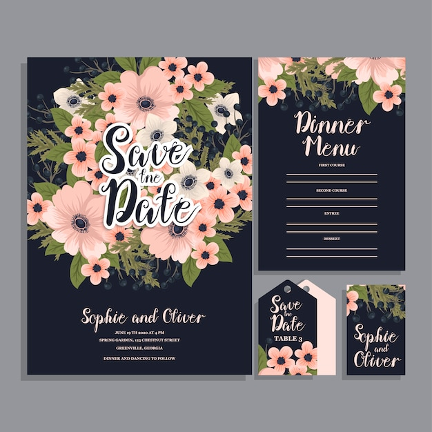 Wedding invitation card suite with flowers Free Vector