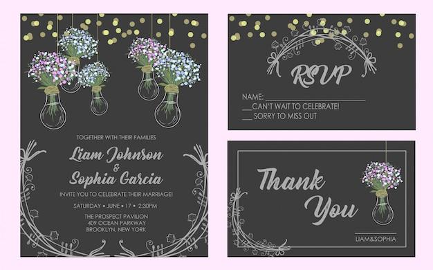 Wedding invitation card suite. Premium Vector