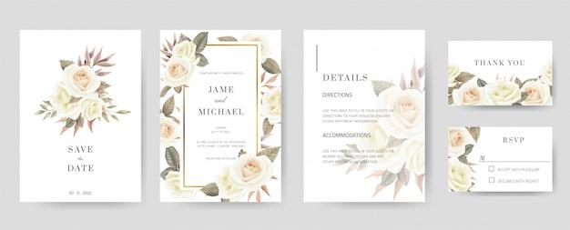 Шаблон приглашения на свадьбу состоит из сохранения даты, спасибо, rsvp, подробностей. ручная роспись белых роз и акварели. старинный и минимальный набор карт. Premium векторы