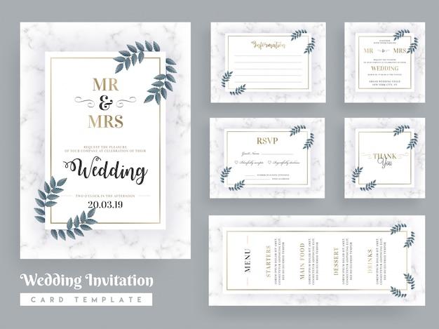 Wedding invitation card template design Premium Vector