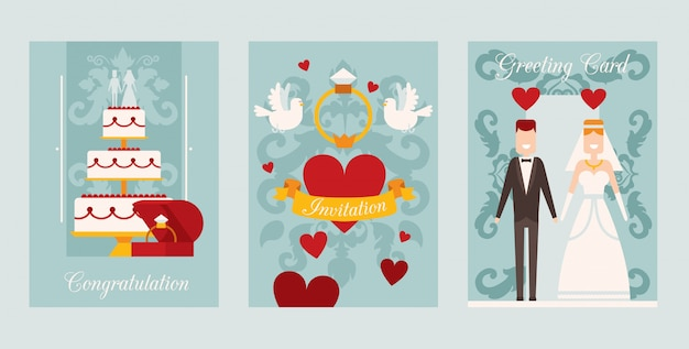Wedding invitation card template,   illustration. set of simple banners in flat style with symbols of love and happy marriage. heart, wedding cake, bride and groom Premium Vector