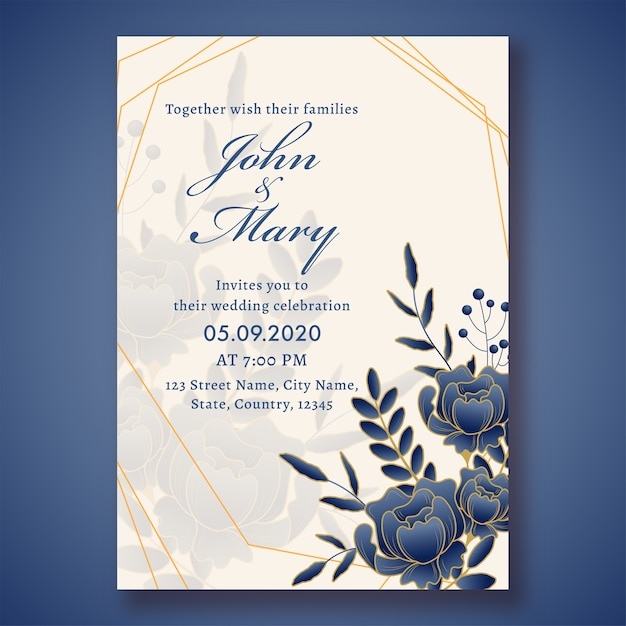 Wedding invitation card template layout decorated with blue rose flowers and leaves and event detail