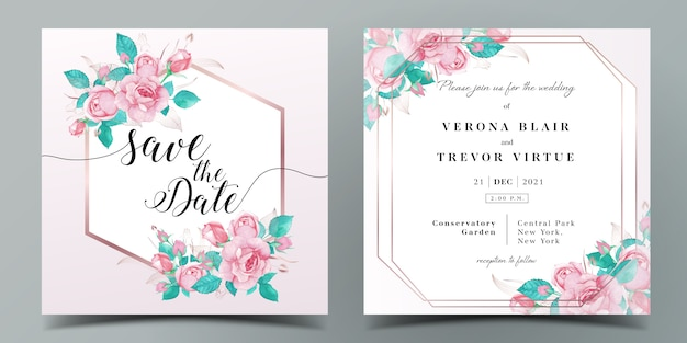 Wedding invitation card template in pink color theme decorated with rose in watercolor style Premium Vector